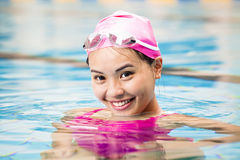Woman close up portrait in swimming pool Royalty Free Stock Images