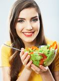 Woman close up smiling face. Diet food. Stock Photo