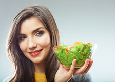 Woman close up smiling face. Diet food. Royalty Free Stock Photo