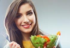 Woman close up smiling face. Diet food. Stock Photos