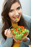 Woman close up smiling face. Diet food. Stock Images