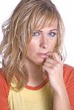 Woman close up thinking Stock Photography