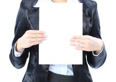 woman close up with a white banner. Stock Photography