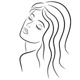 Woman with closed eyes. Abstract beautiful woman with closed eyes and with long hair, hand drown vector outline Stock Image
