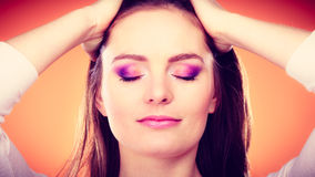 Woman closed eyes colorful makeup portrait Royalty Free Stock Photo