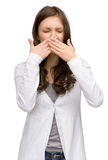 Woman with closed eyes covering her nose Stock Photos