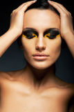 Woman, Closed Eyes - False Lashes, Bright Makeup Royalty Free Stock Photography