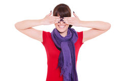 Woman with closed eyes by hands Royalty Free Stock Photo