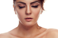 Woman with closed eyes and professional make up Royalty Free Stock Photos