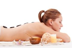 Woman with closed eyes receiving spa royalty free stock images