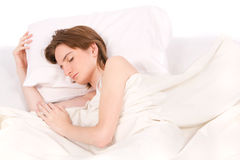 Woman with closed eyes sleeps Stock Images
