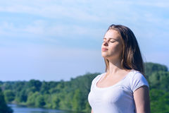 Woman with closed eyes Royalty Free Stock Photography