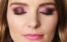 Woman closed eyes with violet dark shadows makeup Royalty Free Stock Photos