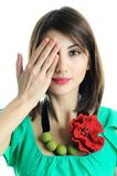 Woman closed her face Royalty Free Stock Image
