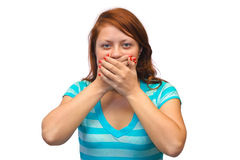 Woman closed mouth Stock Photography
