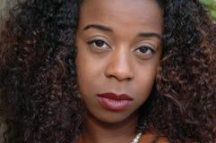 Woman closeup. Close up of beautiful African American woman stock photos