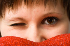 Woman closeup sight looking straight Stock Images
