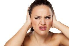 Woman Closing Ears Royalty Free Stock Photo