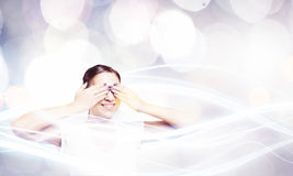 Woman closing eyes Stock Image