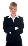 Woman clothed in business suit in studio Stock Photography