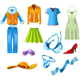 Woman clothes. All elements of the Woman's clothes Stock Photos