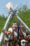 Woman in clothes aborigine of Kamchatka Peninsula Stock Images