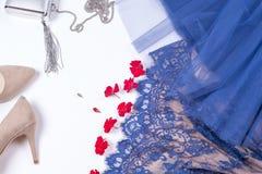Woman clothes and accessories. Soft blue colors female apparel. Pale colors fashion set stock images
