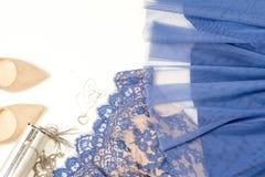 Woman clothes and accessories. Soft blue colors female apparel. Pale colors fashion set stock photo