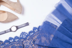 Woman clothes and accessories. Soft blue colors female apparel. Pale colors fashion set stock photography