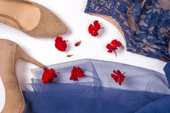 Woman clothes and accessories. Soft blue colors female apparel. Pale colors fashion set Royalty Free Stock Photography