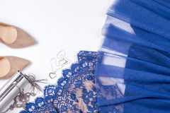 Woman clothes and accessories. Soft blue colors female apparel. Pale colors fashion set royalty free stock images