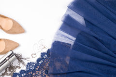 Woman clothes and accessories. Soft blue colors female apparel. Pale colors fashion set stock image