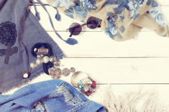 Woman clothes in boho style Royalty Free Stock Images