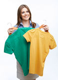 Woman with clothes Stock Photo