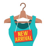 Woman Clothes On Hanger With New Arrival Tag Stock Photography