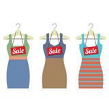 Woman Clothes On Hanger With Sale Tags Stock Photos