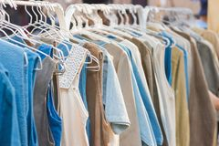 Woman clothes on hangers for sale in market. Bangkok Thailand Royalty Free Stock Images