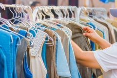 Woman clothes on hangers for sale in market. Bangkok Thailand Royalty Free Stock Image