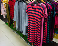 Woman clothes hanging on the rack display photo taken in Jakarta Indonesia Royalty Free Stock Photography