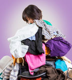Woman with clothes Royalty Free Stock Image