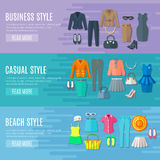 Woman Clothes Horizontal  Banners Set Royalty Free Stock Image
