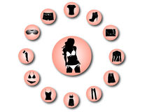 Woman clothes icons 1 Royalty Free Stock Photo