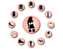 Woman clothes icons 2 Stock Photos