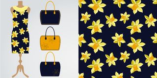 Woman clothes modern stylish boutique, shop. Vector illustration. Seamless daffodil floral pattern with its example on the dress m Stock Images