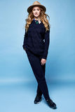Woman clothes wool cashmere suit pants sweater dark blue color a Stock Photos