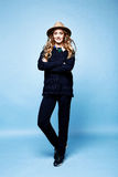 Woman clothes wool cashmere suit pants sweater dark blue color a Stock Images