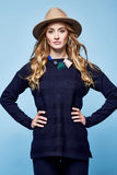 Woman clothes wool cashmere suit pants sweater dark blue color a Royalty Free Stock Photography