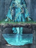Woman, Clothing, Cave, Water, Fish Royalty Free Stock Images
