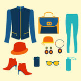 Woman clothing fashion set clothing and accessories Royalty Free Stock Images