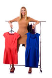 The woman with clothing isolated on white Stock Images